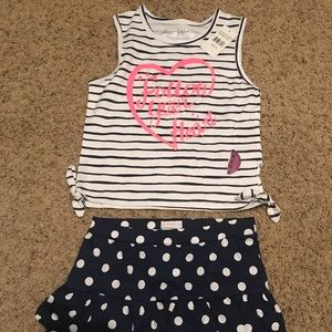Little girls mini skirt and shirt